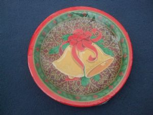 Christmas Design Paper Plates 224mm: Bells  (pack of 6)